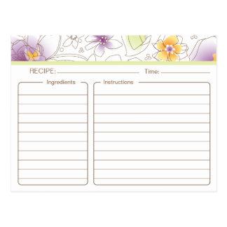 Tarjeta nupcial personalizada de la receta de la postales
