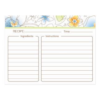 Tarjeta nupcial personalizada de la receta de la tarjeta postal