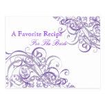 Tarjeta nupcial púrpura barroca exquisita de la postal
