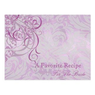 Tarjeta nupcial rosada rococó de la receta de la tarjeta postal