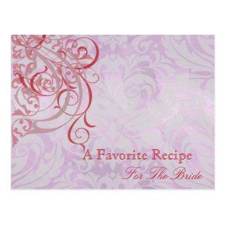 Tarjeta nupcial rosada rococó de la receta de la tarjetas postales