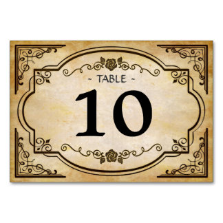 Tarjeta occidental del número de la tabla del boda