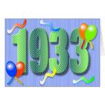 Tarjeta octogésima del cumpleaños 1933