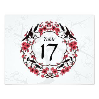 """Tarjeta oriental del número de la tabla de la flor invitación 4.25"""" x 5.5"""""""