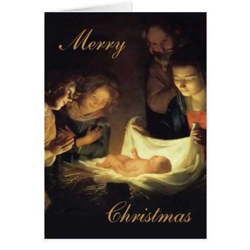 Tarjeta original de la pintura de la natividad de