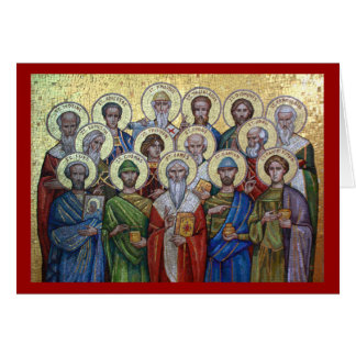 Tarjeta ortodoxa santa de los curadores y de Unmer