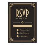"Tarjeta oscura de RSVP del marco retro del art Invitación 3.5"" X 5"""