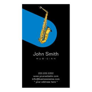 Tarjeta oscura del perfil del jazz del músico azul tarjetas de visita