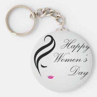 Tarjeta para mujer feliz del día con la cara de llavero redondo tipo pin