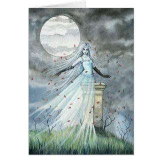Tarjeta paranormal gótica de Halloween del fantasm