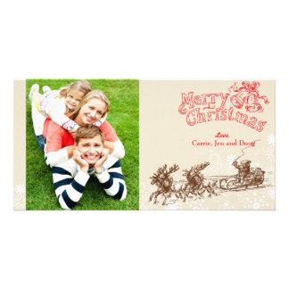 Tarjeta pasada de moda de la foto del navidad tarjetas fotograficas personalizadas
