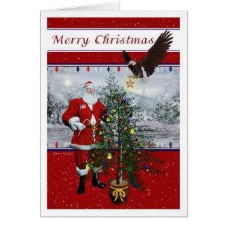 Tarjeta patriótica de las Felices Navidad de Santa