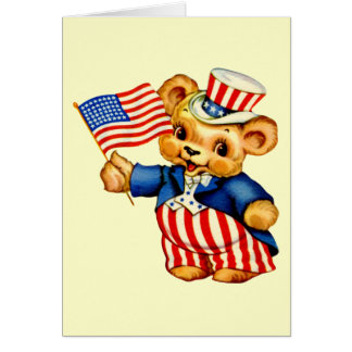 Tarjeta patriótica del oso del vintage
