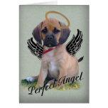 Tarjeta perfecta del ángel de Puggle en verde