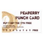 Tarjeta perforada de la bebida de la mancha del ca tarjeta de visita