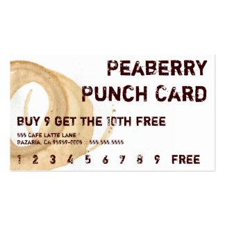 Tarjeta perforada de la bebida de la mancha del tarjetas de visita