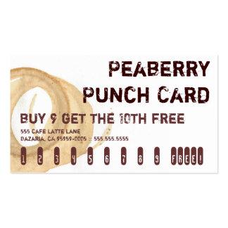 Tarjeta perforada de la bebida del café de tarjetas de visita