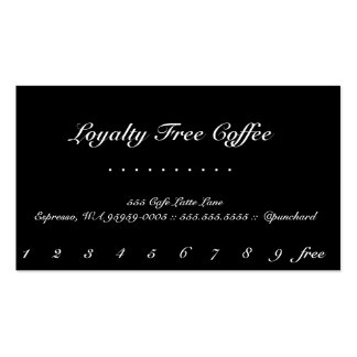 Tarjeta perforada elegante del café de la lealtad tarjetas de visita
