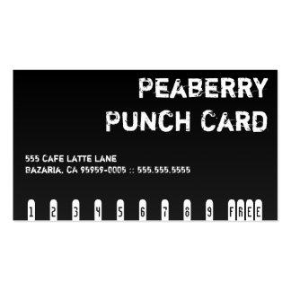 Tarjeta perforada oscura de la bebida del café tarjetas de visita