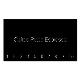 Tarjeta perforada oscura simple del café de la tarjetas de visita
