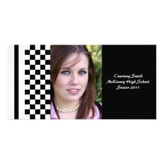 Tarjeta personalizada a cuadros blanco y negro de  tarjeta personal