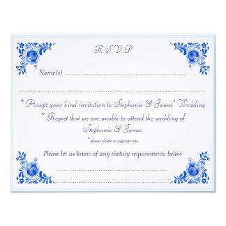 Tarjeta personalizada azul clásico de China RSVP Invitación 10,8 X 13,9 Cm