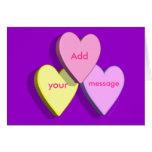 Tarjeta personalizada del caramelo del corazón (pú