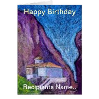 Tarjeta personalizada monasterio griego del feliz