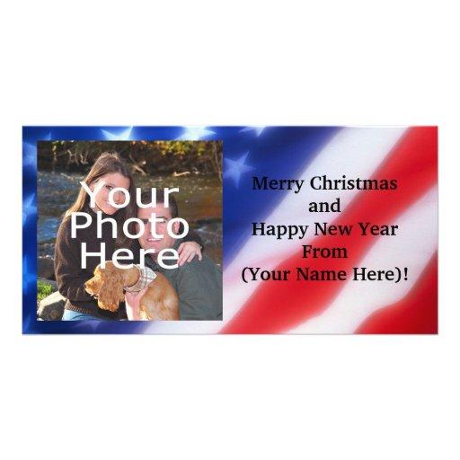 Tarjeta personalizada patriótica de la foto tarjetas personales con fotos