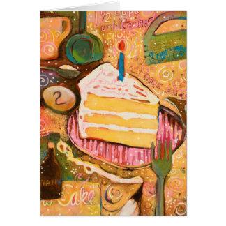 Tarjeta pintada torta de la receta del feliz