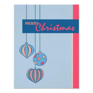 """Tarjeta plana azul de las bolas retras del navidad invitación 4.25"""" x 5.5"""""""