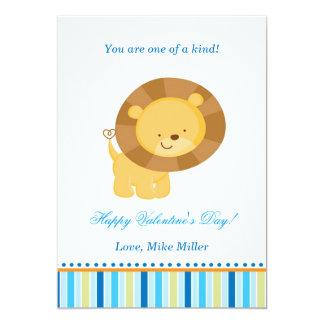 Tarjeta plana azul del león del niño de la tarjeta comunicados