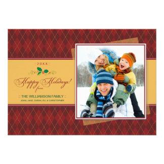 Tarjeta plana de Argyle del invierno buenas fiesta