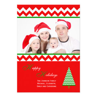 Tarjeta plana de familia del navidad de encargo de