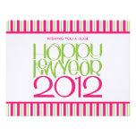 Tarjeta plana de la cal rosada de la Feliz Año Nue Comunicados