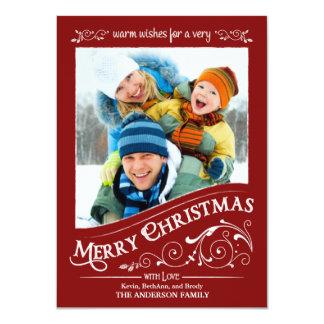 """Tarjeta plana de la foto de las Felices Navidad de Invitación 4.5"""" X 6.25"""""""