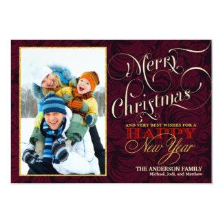 """Tarjeta plana de la foto de las Felices Navidad - Invitación 5"""" X 7"""""""
