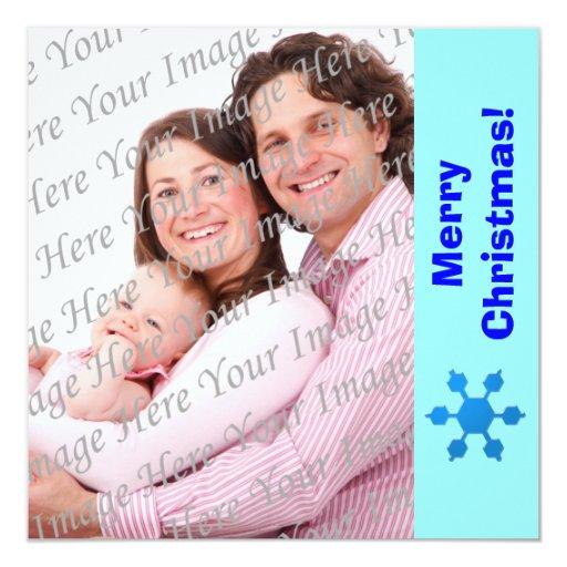 Tarjeta plana de la foto del copo de nieve azul invitación 13,3 cm x 13,3cm