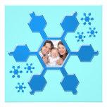Tarjeta plana de la foto del copo de nieve azul anuncio personalizado
