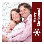 Tarjeta plana de la foto del copo de nieve rojo y anuncio