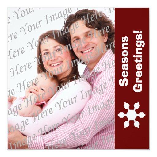 Tarjeta plana de la foto del copo de nieve rojo y anuncios personalizados