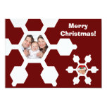 Tarjeta plana de la foto del copo de nieve rojo y invitación