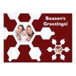 Tarjeta plana de la foto del copo de nieve rojo y comunicados personalizados