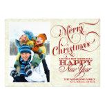 Tarjeta plana de la foto del navidad - rojo y blan invitacion personalizada