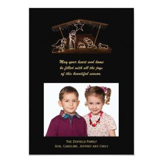 """Tarjeta plana de la natividad de la foto cristiana invitación 5"""" x 7"""""""