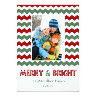 """Tarjeta plana de los Felices Navidad verdes rojos Invitación 5"""" X 7"""""""