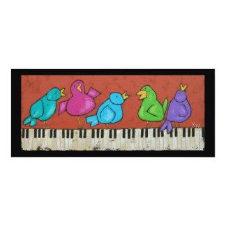 Tarjeta plana de los pájaros del piano invitación 10,1 x 23,5 cm
