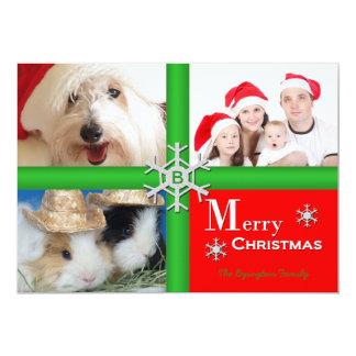 Tarjeta plana del collage de familia del navidad comunicados personalizados