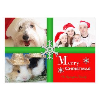 Tarjeta plana del collage de familia del navidad ú