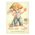 "Tarjeta plana del Cupid del granjero de la tarjeta Invitación 5"" X 7"""